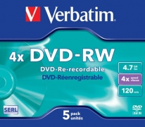 Płyta DVD RW Verbatim 4,7GB 4x Colours slim case